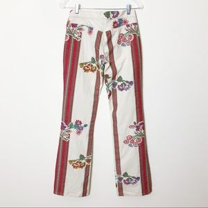 Joie Floral Embroidered Flare Pants Size 27